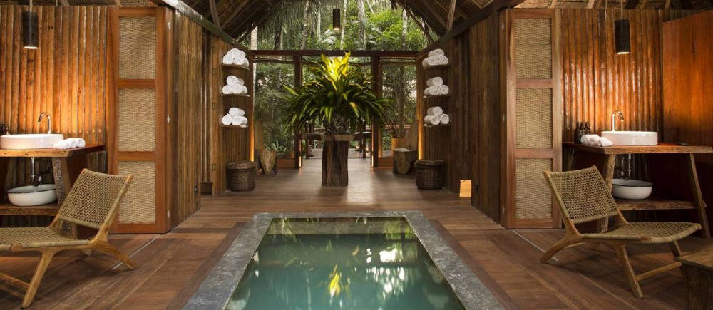 hotel pool in amazon jungle