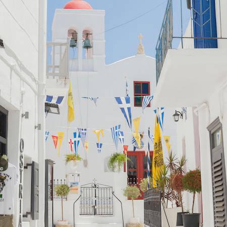 Street flags in Greece