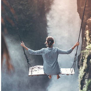 Woman on a swing in Bali