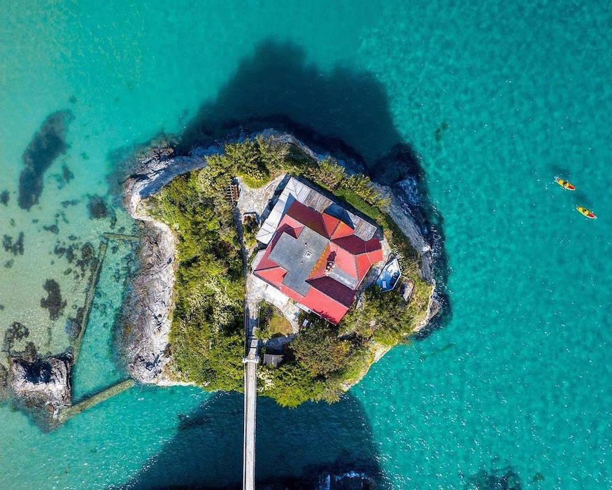 Overhead view of private villa