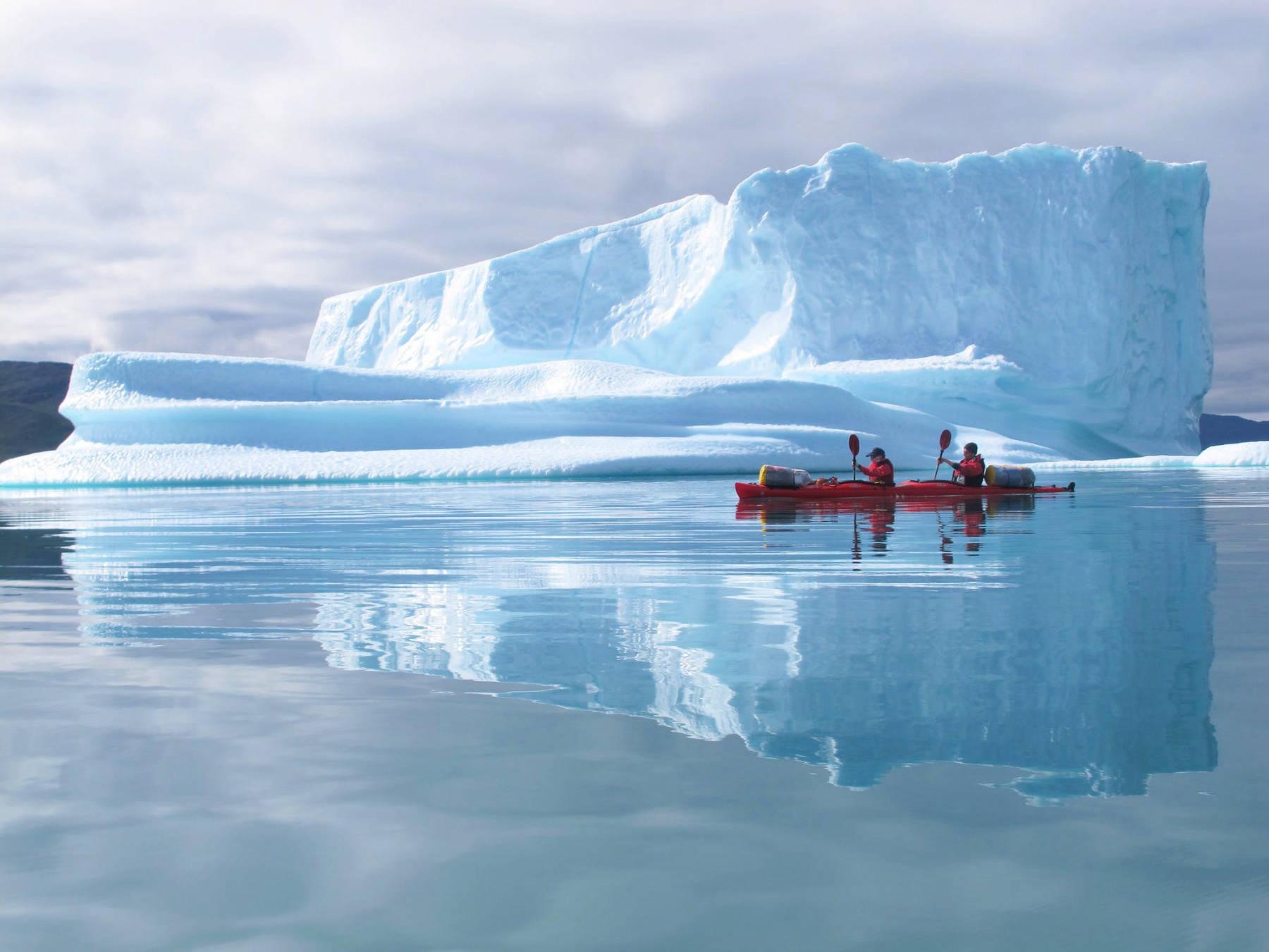 kayaking couple in greenland