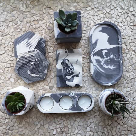 Black and white marbled ceramic homewares