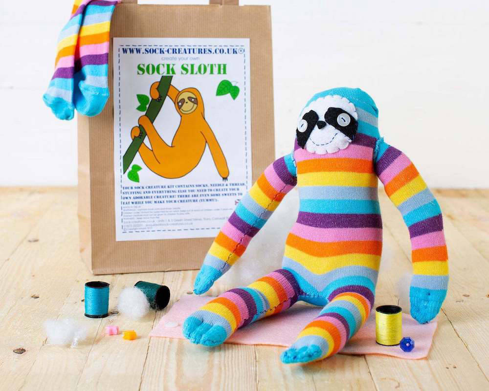 Sloth toy made out of a sock