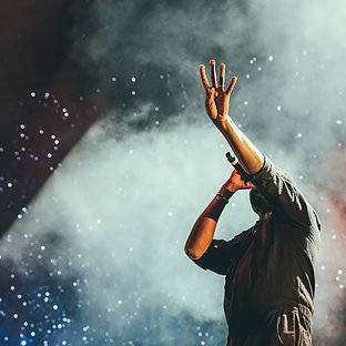 Singer on stage at a concert