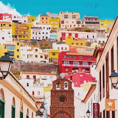 Colourful buildings in La Gomera