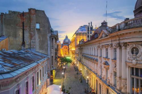 Bucharest street in the evening