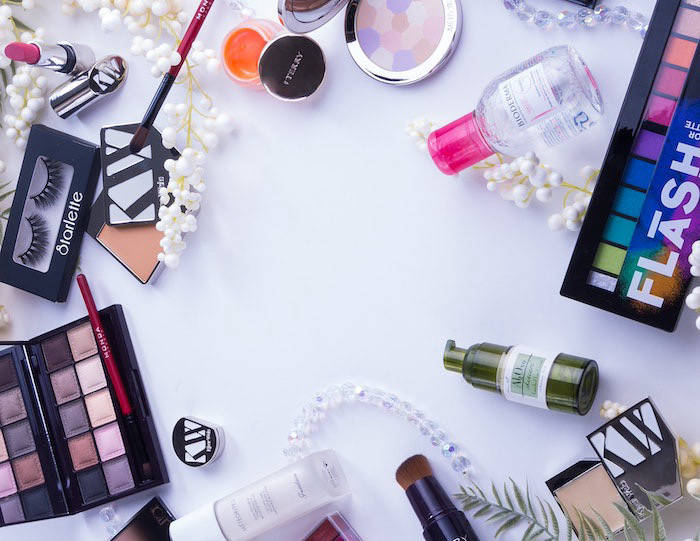 Flatlay of beauty products