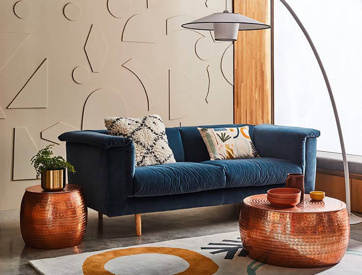 Blue sofa in bright room