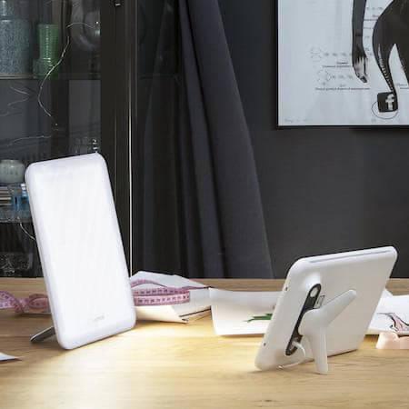 SAD light on an office desk