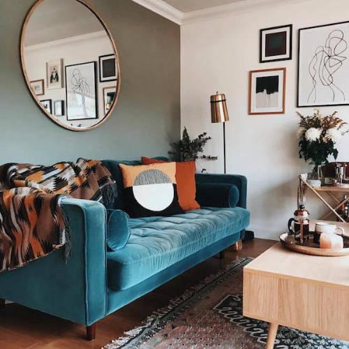 Blue sofa in stylish living room