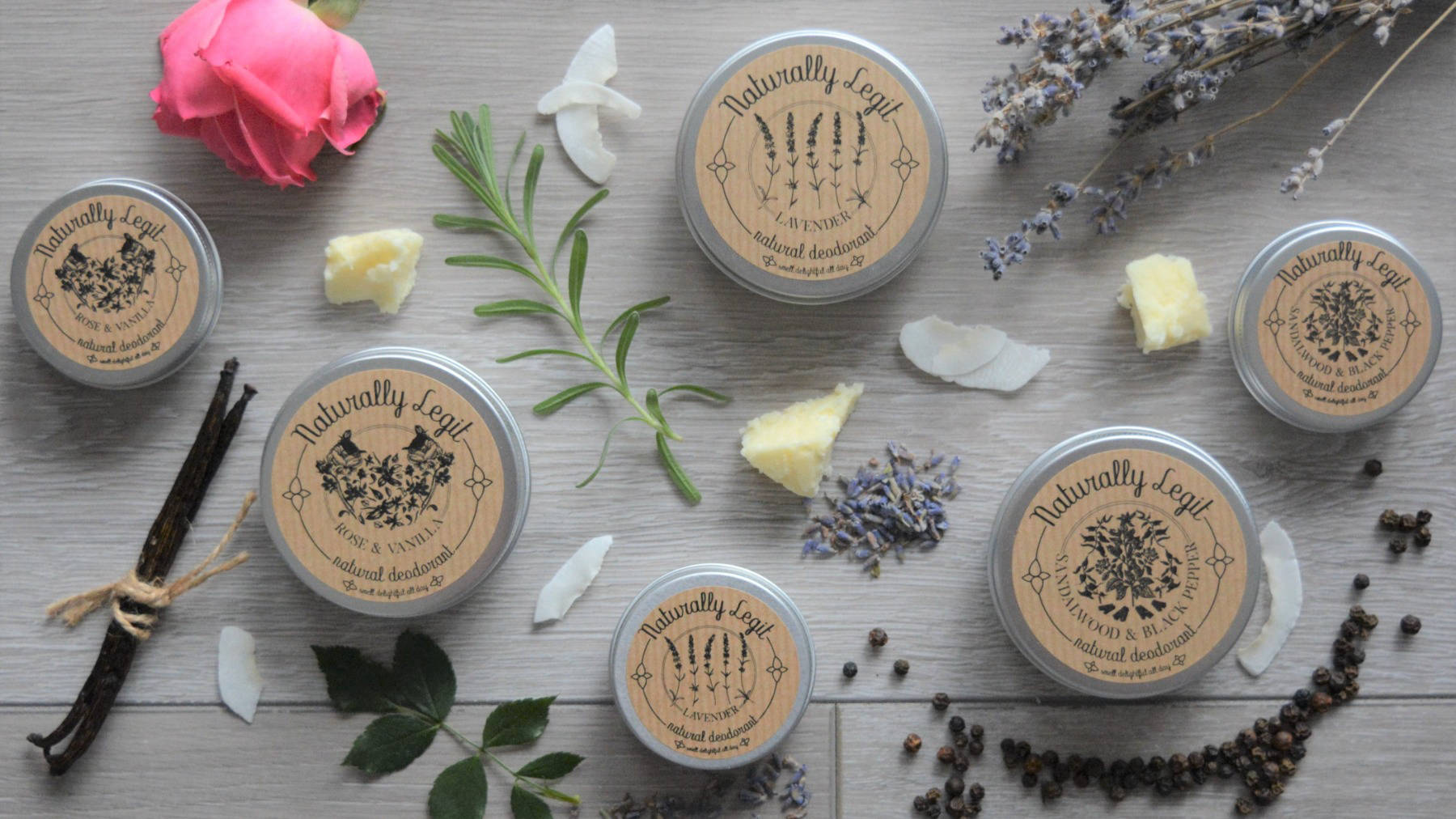 Variety of Naturally Legit natural deodorant with ingredients