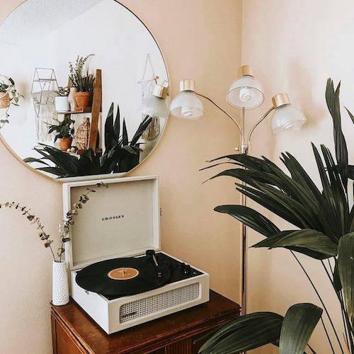 Crosley Cruiser vinyl record player in a bright living room