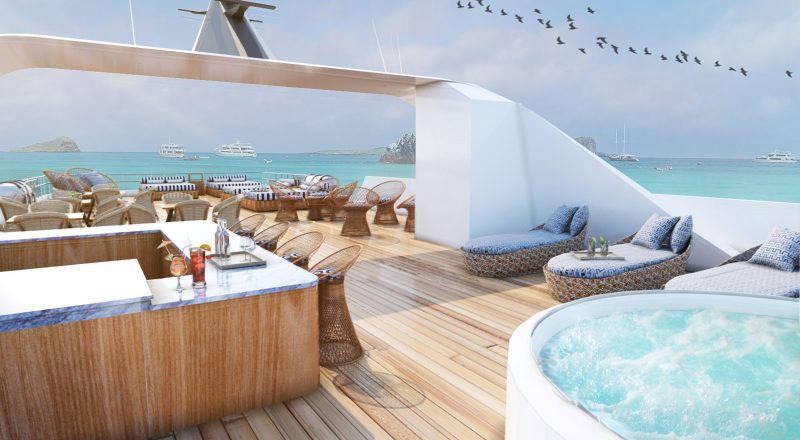 sundeck of yacht with hot tub
