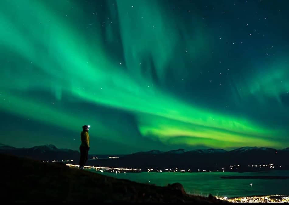 Person watching the Northern Lights