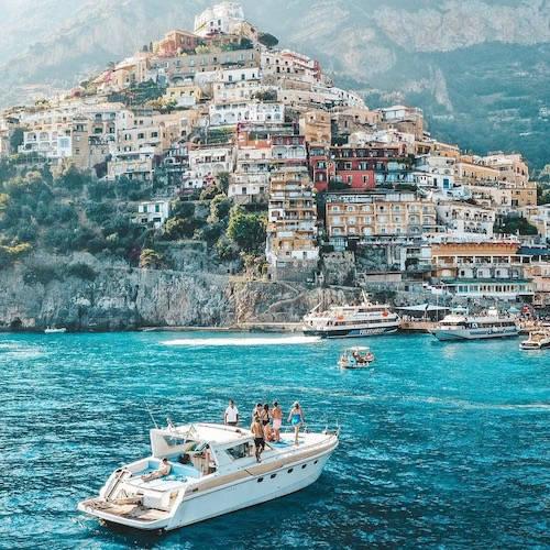 Luxury yacht in blue sea