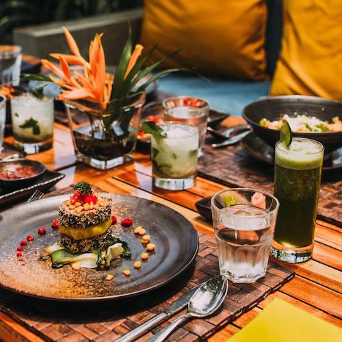 Food on a restaurant table