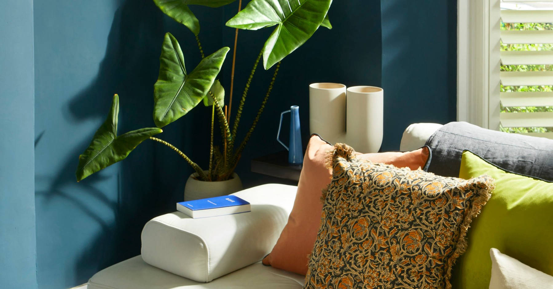 Stylish sofa with cushions, plant and blue wall