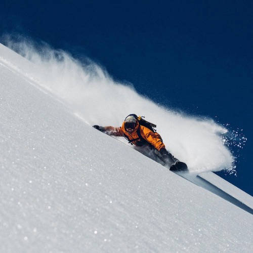 Snowboarder on a snowy mountain