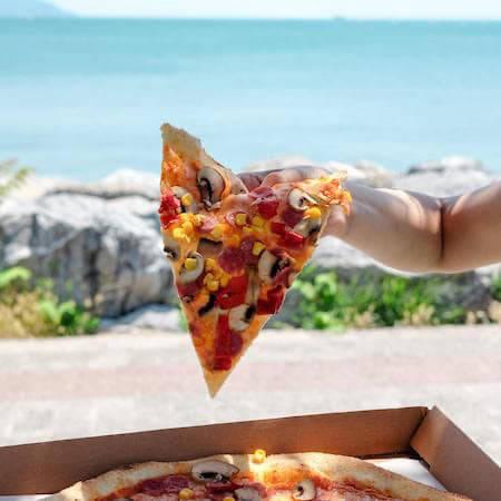 Vegetable pizza slice