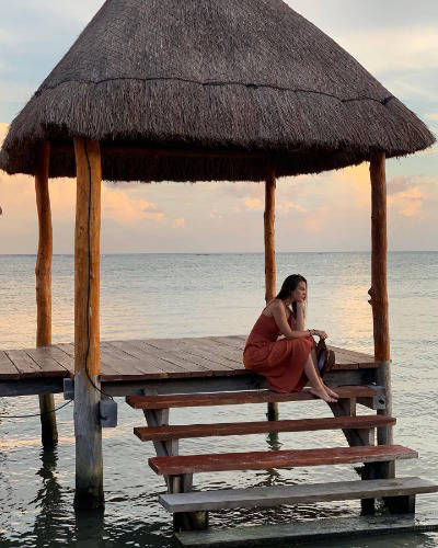 Woman on overwater deck