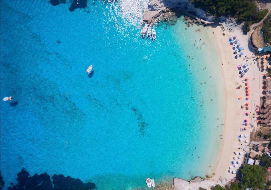 Overhead shot of blue seas in corfu