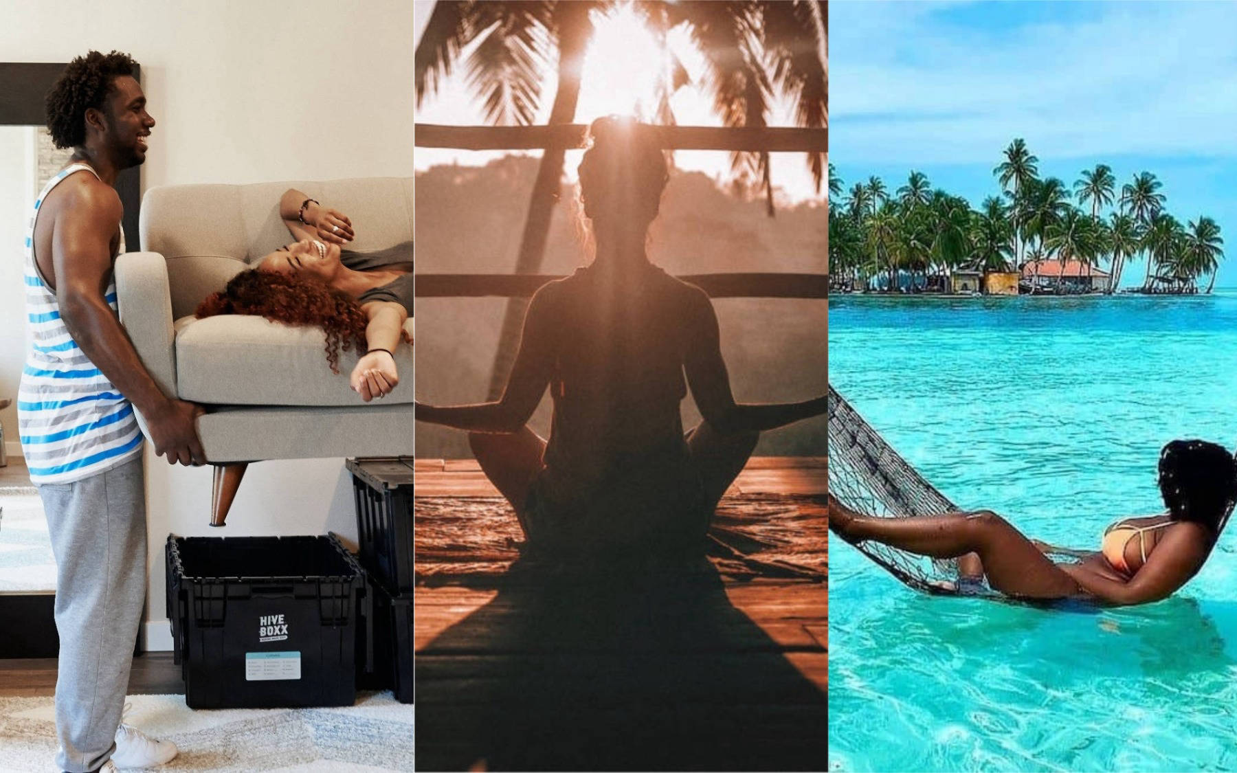 Collage of images including home makeover, woman meditating, and a woman on a hammock