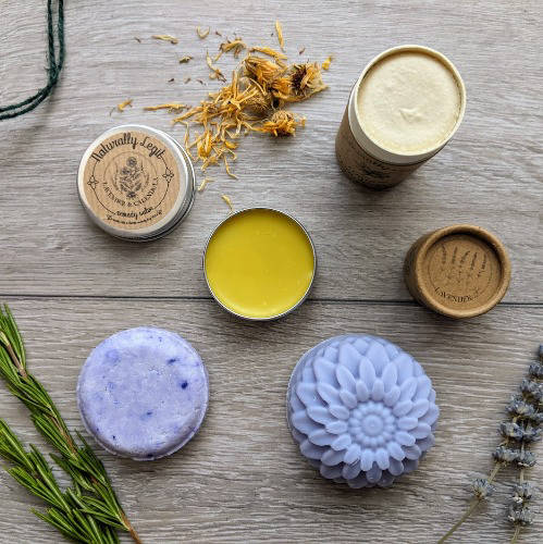 Arrangement of natural skincare products