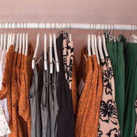 Rack of clothing in a clothes shop