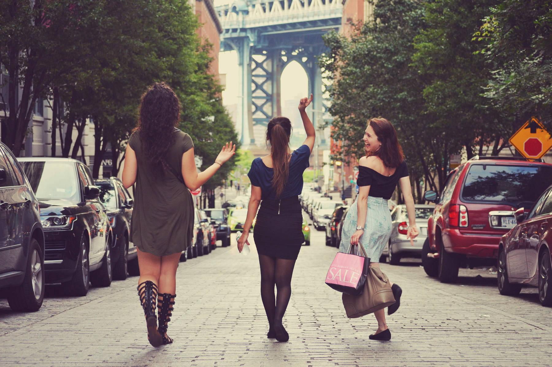 Women walking through street
