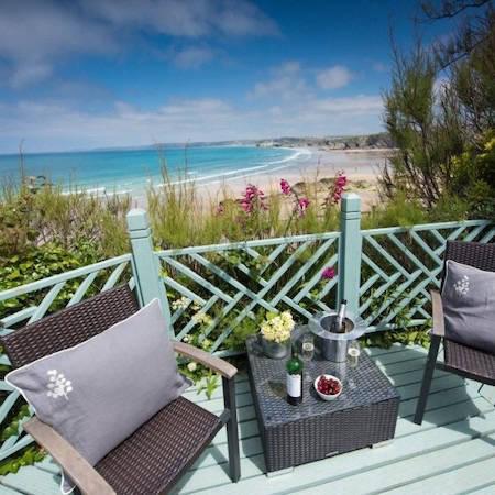 Sunny terrace overlooking the beach