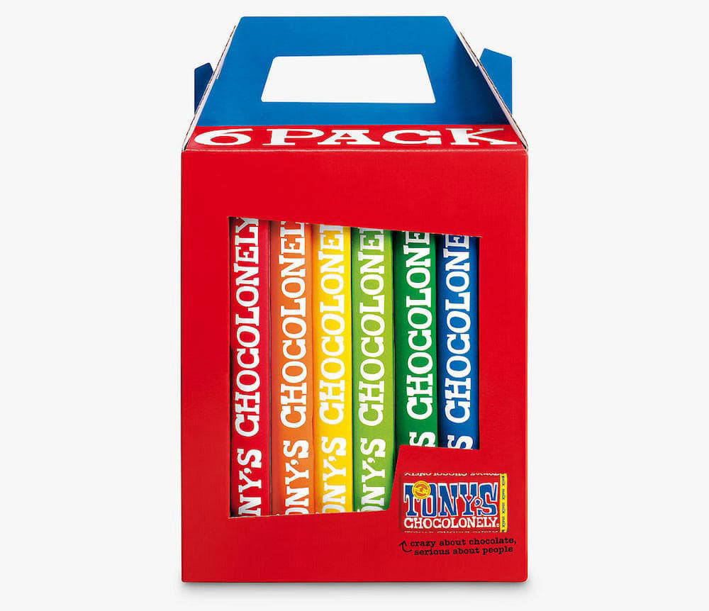 6 pack box of Tony's Chocolonely chocolate