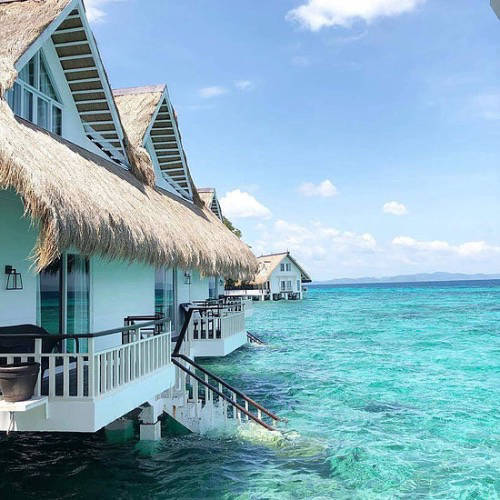 Overwater bungalows in the Philippines