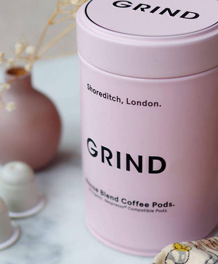 Grind coffee pink tin