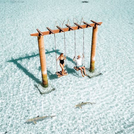 Swing set in the water in the Maldives
