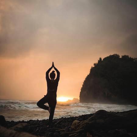 Vinyasa yoga at sunset