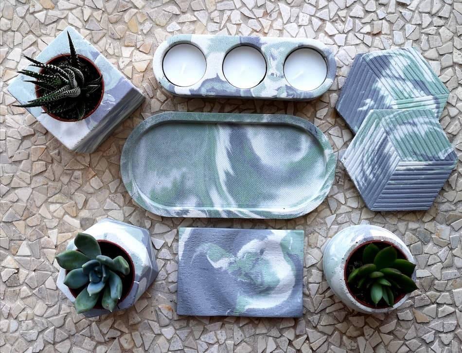 Mint green marbled ceramic homewares