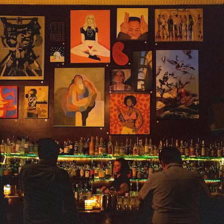 Artwork on a wall in a bar in Berlin