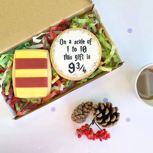 Decorated Harry Potter cookies in a box