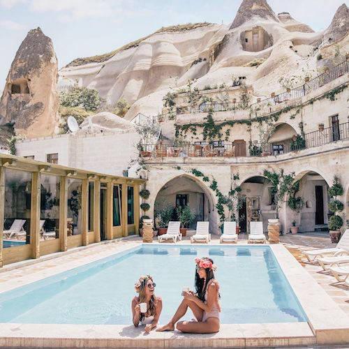 Pool in luxury hotel courtyard