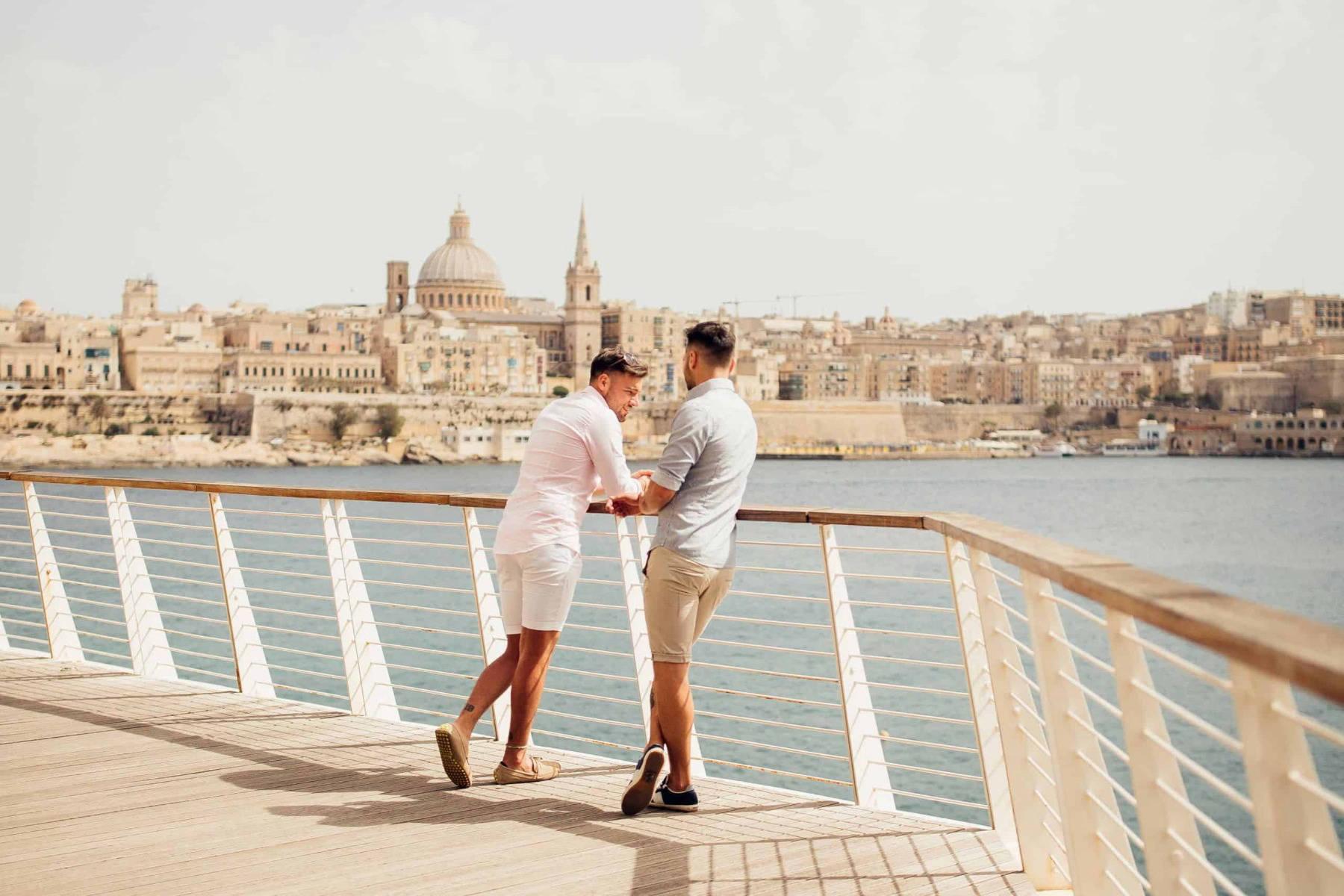 People on a cruise overlooking Malta