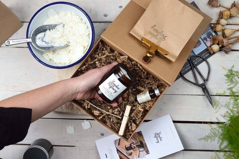 Candle making kit in a delivery box