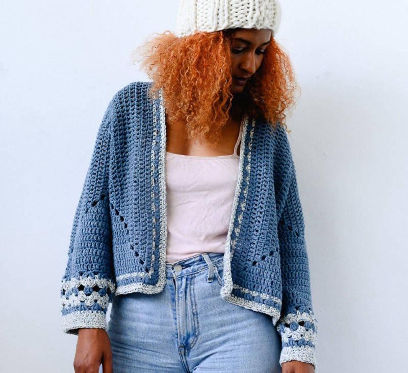 Reclaimed denim crochet cardigan