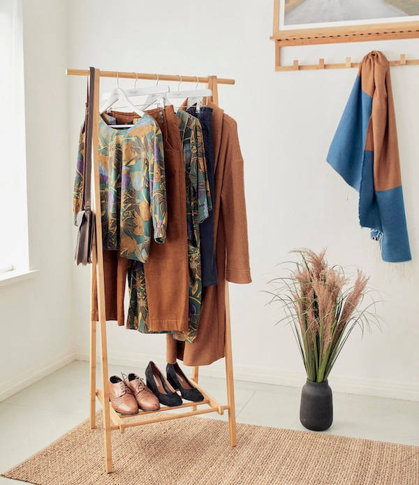 Sustainable clothing on a clothes rack
