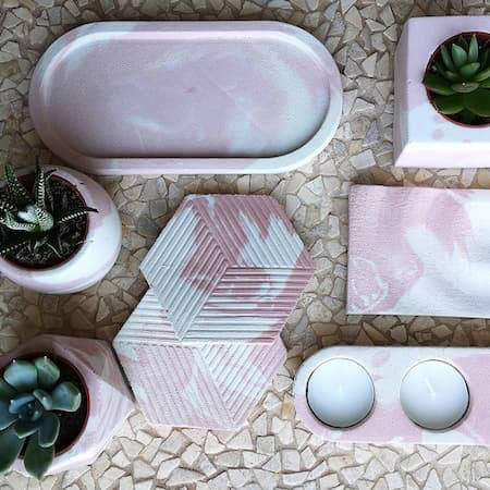 Pink and white marbled ceramic homewares